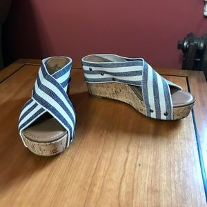 Crown Vintage blue / white stripe wedge sandal
